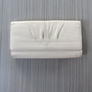 Coach White Pebbled Leather Tri Fold Wallet